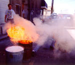 Dodging the fireball from a raku reduction chamber.