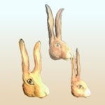 Small image of rabbit heads by Caroline Brooks.