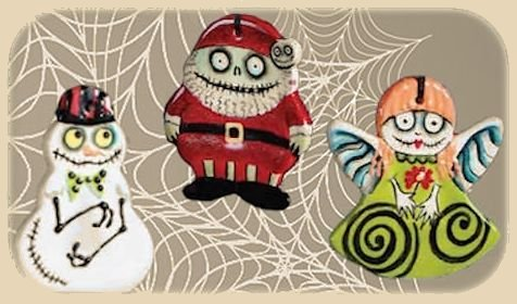Duncan ornaments decorated for Halloween.