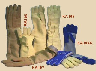 Leather and Kevlar firing gloves.
